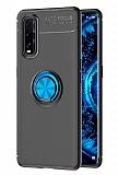 Eiroo Liquid Ring Oppo Find X2 Standlı Siyah-Mavi Silikon Kılıf