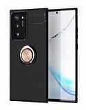 Eiroo Liquid Ring Samsung Galaxy Note 20 Ultra Standlı Rose Gold-Siyah Silikon Kılıf