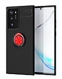 Eiroo Liquid Ring Samsung Galaxy Note 20 Ultra Standlı Kırmızı-Siyah Silikon Kılıf