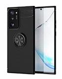 Eiroo Liquid Ring Samsung Galaxy Note 20 Ultra Standlı Siyah Silikon Kılıf
