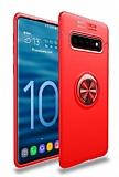 Eiroo Liquid Ring Samsung Galaxy S10 Standlı Kırmızı Silikon Kılıf