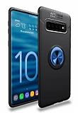 Eiroo Liquid Ring Samsung Galaxy S10e Standlı Lacivert-Siyah Silikon Kılıf