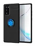 Eiroo Liquid Ring Samsung Galaxy S20 FE Standlı Mavi-Siyah Silikon Kılıf