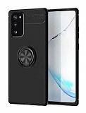 Eiroo Liquid Ring Samsung Galaxy S20 FE Standlı Siyah Silikon Kılıf