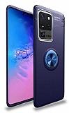 Eiroo Liquid Ring Samsung Galaxy S20 Ultra Standlı Lacivert Silikon Kılıf