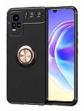 Eiroo Liquid Ring vivo V21E Standlı Rose Gold-Siyah Silikon Kılıf