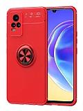 Eiroo Liquid Ring vivo V21E Standlı Kırmızı Silikon Kılıf
