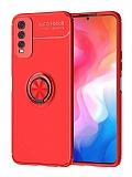 Eiroo Liquid Ring vivo Y20 Standlı Kırmızı Silikon Kılıf