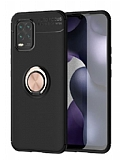 Eiroo Liquid Ring Xiaomi Mi 10 Lite Standlı Siyah-Rose Gold Silikon Kılıf