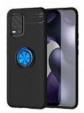 Eiroo Liquid Ring Xiaomi Mi 10 Lite Standlı Siyah-Lacivert Silikon Kılıf
