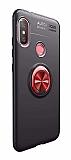 Eiroo Liquid Ring Xiaomi Mi A2 Lite Standlı Kırmızı-Siyah Silikon Kılıf