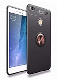 Eiroo Liquid Ring Xiaomi Mi Max 2 Standlı Rose Gold-Siyah Silikon Kılıf