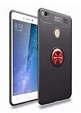 Eiroo Liquid Ring Xiaomi Mi Max 2 Standlı Kırmızı-Siyah Silikon Kılıf