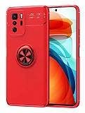 Eiroo Liquid Ring Xiaomi Poco X3 GT Standlı Kırmızı Silikon Kılıf