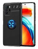 Eiroo Liquid Ring Xiaomi Poco X3 GT Standlı Mavi-Siyah Silikon Kılıf