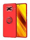 Eiroo Liquid Ring Xiaomi Poco X3 Standlı Kırmızı Silikon Kılıf
