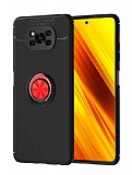 Eiroo Liquid Ring Xiaomi Poco X3 Standlı Kırmızı-Siyah Silikon Kılıf
