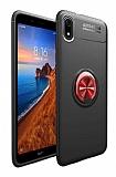 Eiroo Liquid Ring Xiaomi Redmi 7A Standlı Kırmızı-Siyah Silikon Kılıf