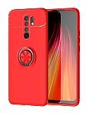 Eiroo Liquid Ring Xiaomi Redmi 9 Standlı Kırmızı Silikon Kılıf