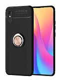 Eiroo Liquid Ring Xiaomi Redmi 9A Standlı Rose Gold-Siyah Silikon Kılıf