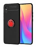 Eiroo Liquid Ring Xiaomi Redmi 9A Standlı Kırmızı-Siyah Silikon Kılıf