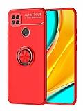 Eiroo Liquid Ring Xiaomi Redmi 9C Standlı Kırmızı Silikon Kılıf