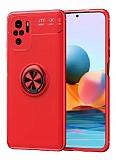Eiroo Liquid Ring Xiaomi Redmi Note 10 Standlı Kırmızı Silikon Kılıf