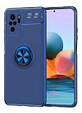 Eiroo Liquid Ring Xiaomi Redmi Note 10 Standlı Mavi Silikon Kılıf