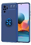 Eiroo Liquid Ring Xiaomi Redmi Note 10S Standlı Mavi Silikon Kılıf