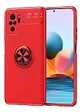 Eiroo Liquid Ring Xiaomi Redmi Note 10S Standlı Kırmızı Silikon Kılıf