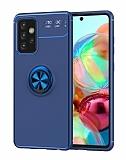 Eiroo Liquid Ring Samsung Galaxy A52 / A52 5G Standlı Mavi Silikon Kılıf