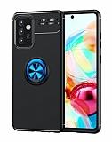 Eiroo Liquid Ring Samsung Galaxy A52 / A52 5G Standlı Siyah-Mavi Silikon Kılıf