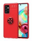 Eiroo Liquid Ring Samsung Galaxy A52 / A52 5G Standlı Kırmızı Silikon Kılıf