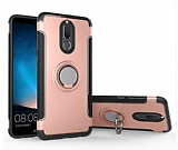 Eiroo Mage Fit Huawei Mate 10 Lite Standlı Ultra Koruma Rose Gold Kılıf