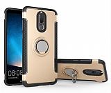 Eiroo Mage Fit Huawei Mate 10 Lite Standlı Ultra Koruma Gold Kılıf