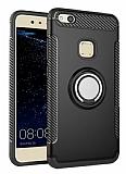 Eiroo Mage Fit Huawei P10 Lite Standlı Ultra Koruma Siyah Kılıf