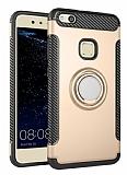 Eiroo Mage Fit Huawei P10 Lite Standlı Ultra Koruma Gold Kılıf