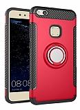 Eiroo Mage Fit Huawei P10 Lite Standlı Ultra Koruma Kırmızı Kılıf