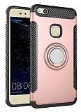 Eiroo Mage Fit Huawei P10 Lite Standlı Ultra Koruma Rose Gold Kılıf
