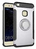 Eiroo Mage Fit Huawei P10 Lite Standlı Ultra Koruma Silver Kılıf