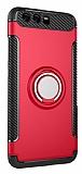 Eiroo Mage Fit Huawei P10 Plus Standlı Ultra Koruma Kırmızı Kılıf