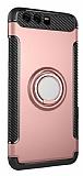 Eiroo Mage Fit Huawei P10 Plus Standlı Ultra Koruma Rose Gold Kılıf
