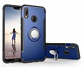 Eiroo Mage Fit Huawei P20 Lite Standlı Ultra Koruma Lacivert Kılıf
