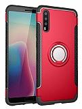 Eiroo Mage Fit Huawei P20 Pro Standlı Ultra Koruma Kırmızı Kılıf