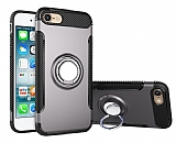 Eiroo Mage Fit iPhone 6 / 6S Standlı Ultra Koruma Dark Silver Kılıf