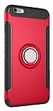 Eiroo Mage Fit iPhone 6 Plus / 6S Plus Standlı Ultra Koruma Kırmızı Kılıf