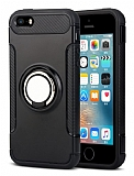 Eiroo Mage Fit iPhone SE / 5 / 5S Standlı Ultra Koruma Siyah Kılıf