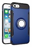 Eiroo Mage Fit iPhone SE / 5 / 5S Standlı Ultra Koruma Lacivert Kılıf