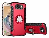 Eiroo Mage Fit Samsung Galaxy J5 Prime Standlı Ultra Koruma Kırmızı Kılıf