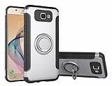 Eiroo Mage Fit Samsung Galaxy J5 Prime Standlı Ultra Koruma Silver Kılıf